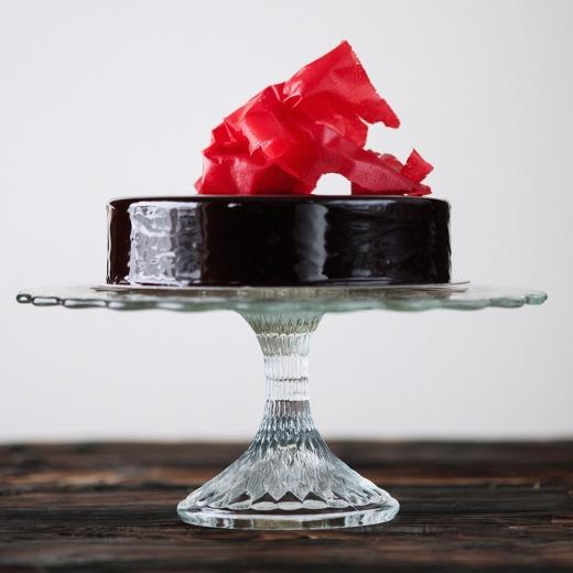 Valrhona sjokoladekake med bringebær